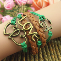 Fashion vintage romantic dcrv preparation bracelet love anchor leather cord bracelet velvet rope bracelet