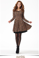 Free shipping 2013 spring long-sleeve knitted autumn winter plus size one-piece dress loose elegant floral print skirt