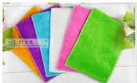 100pcs High Efficient ANTI-GREASY Bamboo Fiber Scouring pad Magic Multi-Function Cleaning Rags Cleaning Cloth/Towel 16*18 CM