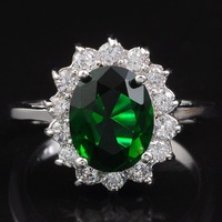 Jenny G Jewelry EXCLUSIVE Royal Style Size 7 Lady's Green Emerald 10KT White Gold Filled Ring for Women
