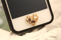 5pcs  Bling Crystal Pearl Heart Enamel Flower Butterfly Home Button Sticker for iPhone 4 4S 5G iPad 2 3 4FREE SHIP
