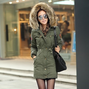 Free shipping 2013 new arrival women's fashion long zipper wide-waisted solid plus size cotton overcoats 0222882217