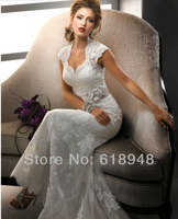 In Stock 2013 Free Shipping Hot Sale Sweetheart Backless Lace Mermaid Popular Wedding Dresses with Removable Sash D0063