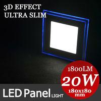 New Product 3D Effect Blue LED+cool/warm White LED suspended ceiling light 20W panel light 180mm down light with driver 110V220V