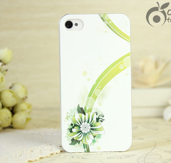 Green flowered ribbon decorate relief case for iphone 4 4s 5 iphone4s 5s  design luxury cell phone back cover item one piece