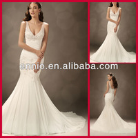 2013 On Sale Straps Lace Organza V-neck Crystal Wedding Dress Mermaid (WDE2004)