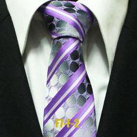 Mens Spot Neckties For Men Novelty Groom Purple With Grey Polka Dots Business Wedding Striped Ties 7CM F7-F-2