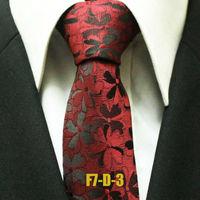 Classic Men`s Neckties For Men Novelty Burgundy Red Floral Business Exquisite Ties Gravatas 7CM F7-D-3