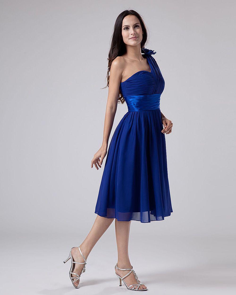 -Royal-Blue-Chiffon-One-Shoulder-Sash-Knee-Length-Bridesmaid-Dresses    One Shoulder Royal Blue Bridesmaid Dresses