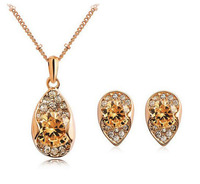 2014 Fashion Luxury 18k Austrian SWA Element crystal rhinestone drop Necklace Earrings Set rose gold plated zircon jewelry sets