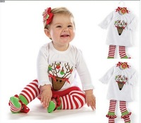 Free Shipping 5 Sets/lot 2013 new girl flower print t shirt and pants 2 pcs suit girl autumn red and white outfit