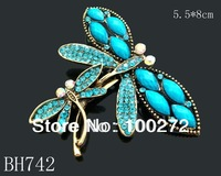 Wholesale hot sell women zinc alloy rhinestone fashion Butterfly Brooches jewelry Free shipping 12pcs/lot Mixed colors  BH742