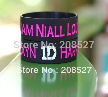 1D One Direction Wristband with Harry Zayn Liam Niall Louis Bracelet, 50pcs/Lot, Free Shipping, 1 Inch Wide Silicone Bracelet