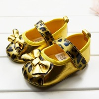 CL0612 Fashion Style Gold Leopard Baby Shoes, PU leather Top Quality Bow First Walker Baby Non-slip Shoes, 3 Sizes