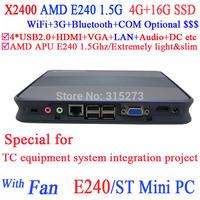 thin client mini pc with internal WiFi AMD APU E240 1.5Ghz Radeon HD6310 Core HD 4G RAM 16G SSD 17W consumption Windows or Linux