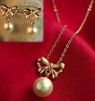 Bow pearl necklace earring set no pierced ear clip
