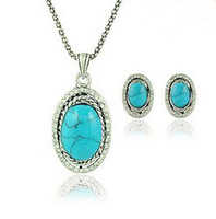 Fashion Turquoise Necklace Set Turquoise Jewelry Sets For Women Vintage Jewellery Sets For Brides Free shipping RuYiXLY022
