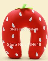 Comfort Foam Particles U Neck Travel Pillow Cute Cartoon Pattern - Strawberry