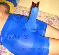 Free Shipping Flash velvet 100d men's set egg lengthen condom stockings flat feet panties blue