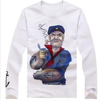2013 men's autumn clothing long-sleeve T-shirt 100% cotton yarn flock Vigorously seaman Cartoon printing tight t-shirt male slim