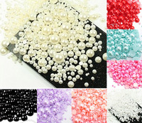 Free shipping 1000 Rice Size from 2-10mm Craft ABS Resin Flatback Half Round Pearls Flatback Scrapbook Beads Jewelry DIY