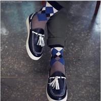 Min Order $10(mixed order)  new arrival hot sale Leisure  lattice  Mens cotton socks fashion socks wholesale &Free shipping