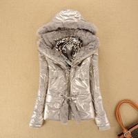 Tonlion 2013 autumn women's JEANSWEST fur collar short fashion jacket with a hood rex rabbit hair down coat