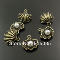 Whosesale Antique Style Bronze Tone Shell Pearl Charm Pendant Finding Hot 40PCS 38007