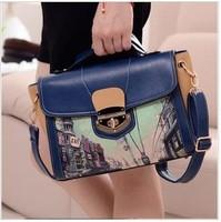 Free Shipping 2013 New Fashion Vintage spraying print shoulder bag women's handbag landscape painting handbag