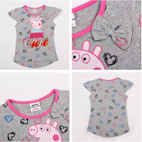 Nova for Kids Baby Girls Tees Peppa Pig Short Sleeve Cartoon Embroidery and Printed with Bow Gray 100% Cotton Tops TZ33