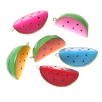 Free Shipping Mixed 33mm Watermelon Fruit Slice Resin Charm Pendant 50pcs/lot for Necklace Jewelry Pendat Decoration