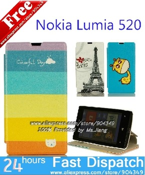 in Stock ! Flip Wallet Stand Cartoon Magatic printed PU Leahter Case Cover For Nokia Lumia 520 Phone Bag Fits Nokia 520 Case