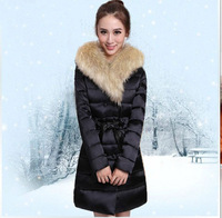 2013 autumn and winter large fur collar medium-long down coat real fur female wadded jacket cotton-padded jacket