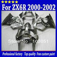 Bodywork set for 2000 2001 2002 kawasaki ZX6R fairing Ninja ZX 6R 00 01 02 ZX-6R fairing black  flame in flat dull silver Sc56