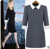 Женское платье Autumn Hitz women's diamond collar Slim European and American round neck Sleeve Dress # 266