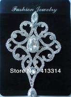 """F101290020 Hot Fix Silver Beaded Crystal Glass Applique 6.3"""" Bridal Sash Motif 1PCS"""