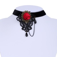 Free Shipping!Yazilind Jewelry Lady's White Lace Fabric With Red Crystal Copper Pandent Choker Necklace 1035N006600900