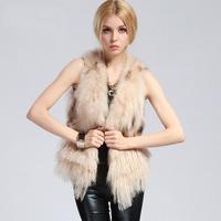 Fashion Women Lady Winter Warm100% Natural Genuine Mongolian  Fur+  Raccoon Fur Vest  Fur Coat
