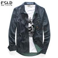 Free Shipping Fashion new arrival personality male shirt sploshes male long-sleeve shirt slim print shirt male