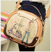 Female bag 2013 Round shape laptop bag cute cartoon school handbag wholesale inclined shoulder bag, Free Shipping