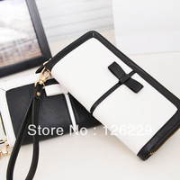 2013 long design women's wallet bow black and white color block brief wallet wholsale