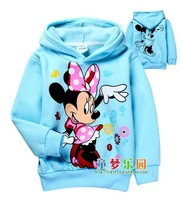 New design girls minnie mouse hoodies cartoon kids fleece Sweatshirts baby AUTUMN/Winter thick hoody wholesale 6pcs/lot