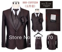 men wedding suit 2014 brand five pieces suits groom business suits for men wedding Dress tuxedo jacket pants vest tie size:46-58