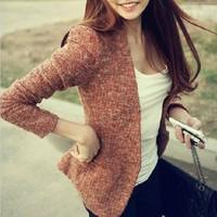 2014 autumn tweed fabric small suit jacket fashion slim woolen outerwear female
