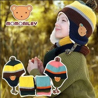 free shipping wholesale new 2013 fashion litter bear style boys & girls knitting winter scarves& hats sets