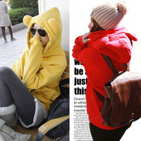 Novelty Fall 2013 Fleece Cardigan Zipper Loose Cute Sweater Sweatshirt Outerwear Anime Women's Hoodies With Animal Ears