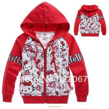 6pcs/lot Free shipping red lovely hello kitty  baby hoodies fashion 2013 children hoodies autumn children clothing for girls