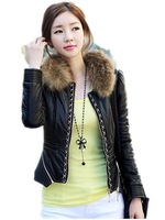 Free Shipping! Raccoon Fur Collar Ladies Leather Jacket.Winter Slim Fashion Short Brand Korean PU leather Jacket Women's
