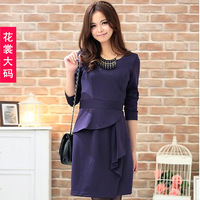 Free sipping Autumn new arrival 2013 plus size clothing elegant dress mm ruffle elegant slim one-piece dress