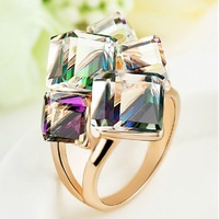 Nsutite fashion geometry crystal ring rose gold cutout ring different light reflecting different lusterfe male ka207